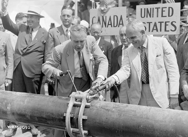 William H. Willis, Governor of Vermont State and Hon. C.D. Howe, Minister of Munitions and Supply at official ceremony for opening of Portland-Montreal Pipeline, 1941. Source: Library and Archives Canada, 3195990.