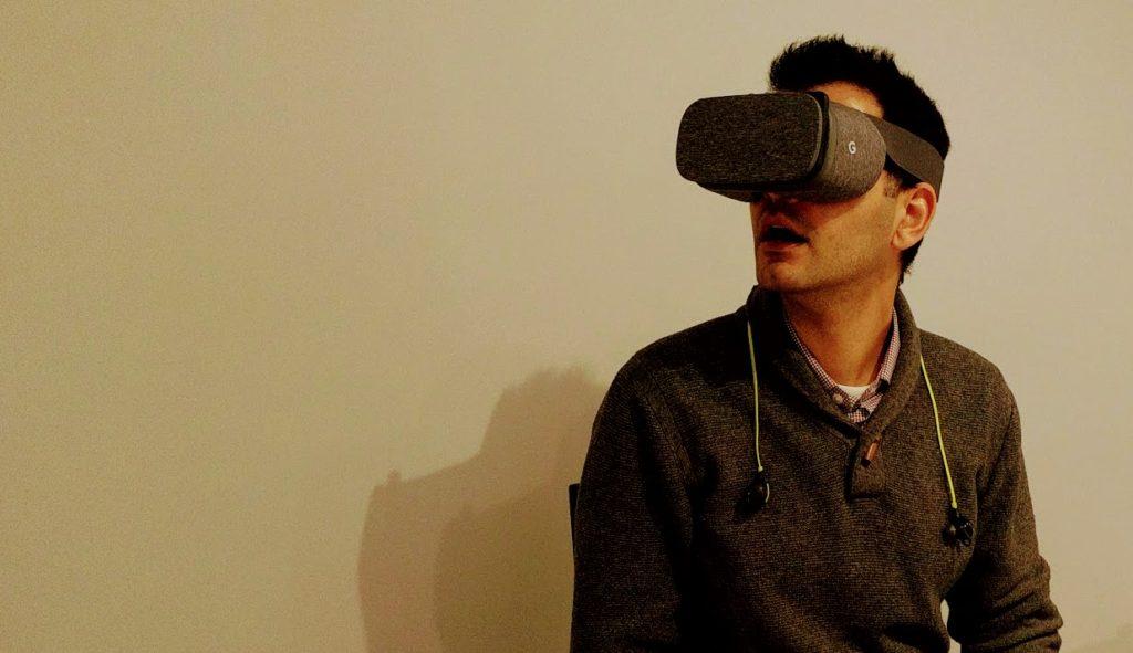 Sean Kheraj wearing a VR headset.